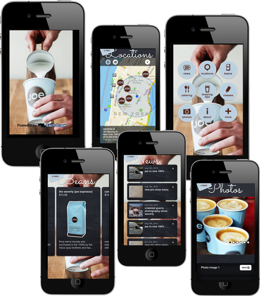 EachScape mobile app for Joe Coffee